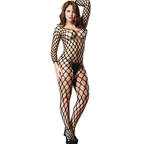 Mesh Catsuit - YLing Women's Black Bold Cut out Pothole Body Stocking Long Sleeve Wide Net Crotchless Catsuit Sexy Nightwear