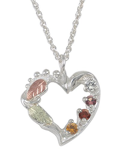 Citrine, Smoky Quartz, Garnet, White Topaz Heart Pendant Necklace, Sterling Silver, 12k Green and Rose Gold Black Hills Gold Motif, 18