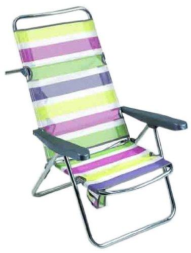 Alco - Silla Cama Playa Aluminio Respaldo Alto Rayas Colores 26 1-67026: Amazon.es: Juguetes y juegos