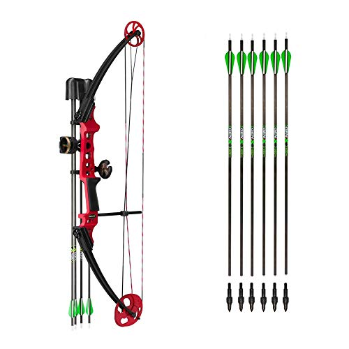 Genesis Bows Gen-X Upgraded Kit (Red, Right Hand): Includes Compound Bow, 10 Carbon Arrows with Field Tips, Sight, Quiver and Rest | 40 lb Draw Weight