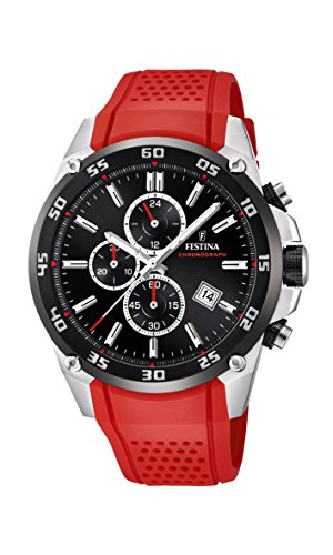 Festina 'The Originals Collection' Men's Quartz Watch with Black Dial Chronograph Display and Red Rubber Strap F20330/7