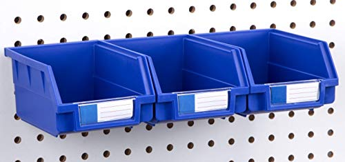 Pegboard Bins - 3 Pack Blue Large - Hooks to Any Peg Board - Organize Hardware, Accessories, Attachments, Workbench, Garage Storage, Craft Room, Tool Shed, Hobby Supplies, Small Parts