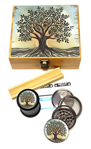(Tree of Life Stash Box Combo - Large 4 Part Herb Grinder with Pollen Catcher and UV Stash Jar and Rolling Tray)