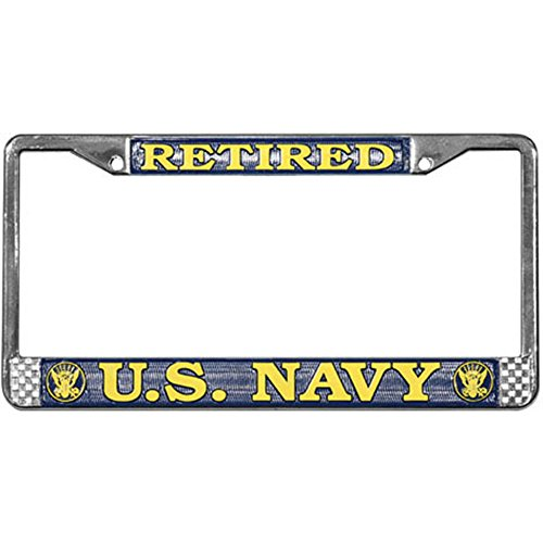 - Honor Country US Navy Retired License Plate Frame (Chrome Metal)