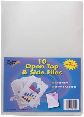 50 x A4 Clear Plastic Open Top /& Side Report File Project Presentation Sleeves