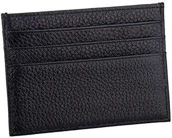 UOYAN Kuh Leder ID Kartenhalter Candy Farbe Bank Kreditkarte Geschenkbox Multi Slot Slim Card Case Custom Name Office (Color : Black)