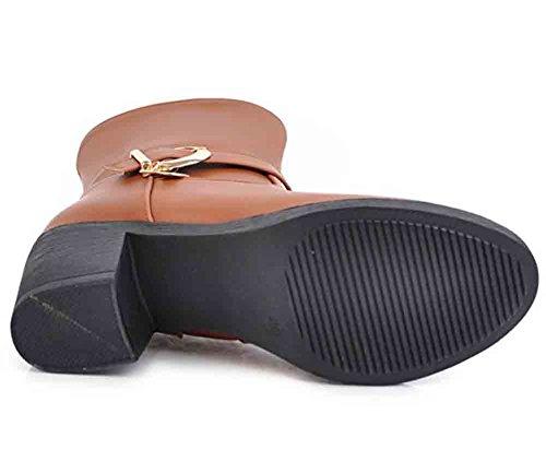 Easemax Donna Elegante Cintura Fibbia Punta Tonda Cerniera Laterale Metà Blocco Tacco Stivaletti Cammello