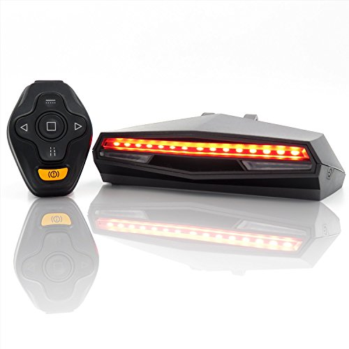 Ampulla Rechargeable Bike Tail Light LED - Remote Control, Turning Lights, Ground Lane Alert, Waterproof, Easy Installation for Cycling Safety Warning (Signal Accessory)