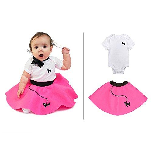 Infant Poodle Costumes (Hip Hop 50s Shop Infant Poodle Skirt 2 Piece Costume Set, Hot Pink, 12 Mo)