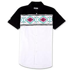 Parish Nation Men's Short Sleeve Woven Shirt (White, S)