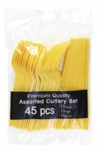 Yellow Party Supplies - Plastic Spoon Fork Knife Utensil Combo Set (Serves up to 15)