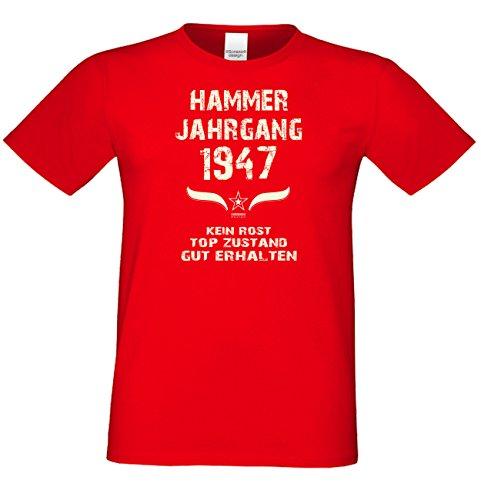 Geburtstags-Geschenk T-Shirt Herren Übergrößen Hammer Jahrgang 1947 Präsent zum 70. Geburtstag Freizeitlook Männer Farbe: rot Gr: M