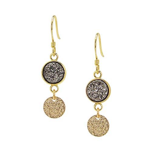 Charlene K Gray Druzy Dangle Earrings with Gold Vermeil Disc ()