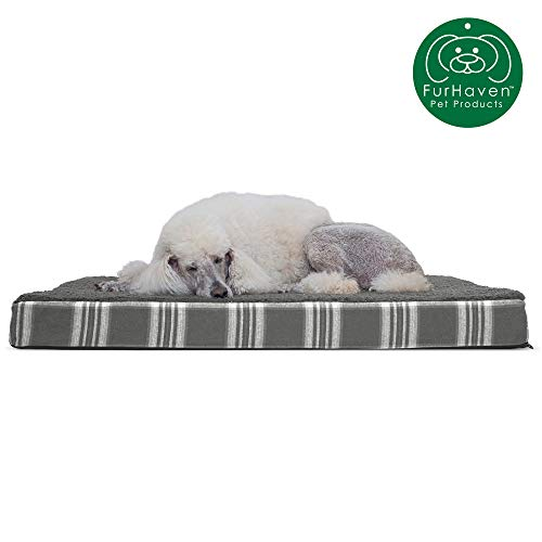 Furhaven Pet Dog Bed | Deluxe Orthopedic Mat Terry & Plaid Flannel Traditional Foam Mattress Pet Bed w/ Removable Cover for Dogs & Cats, Smoke Gray, Jumbo