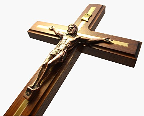 Awesome Wooden Wall Cross with Crucifix of Jesus Christ - 12.6 inches