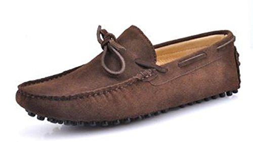 HAPPYSHOP(TM) Fashion Suede Leather Mens Comfort SLIP 0N Tassel Loafer Driving shoes EUR Size39-45 (EUR 44, Brown) (Suede Loafers Slip)