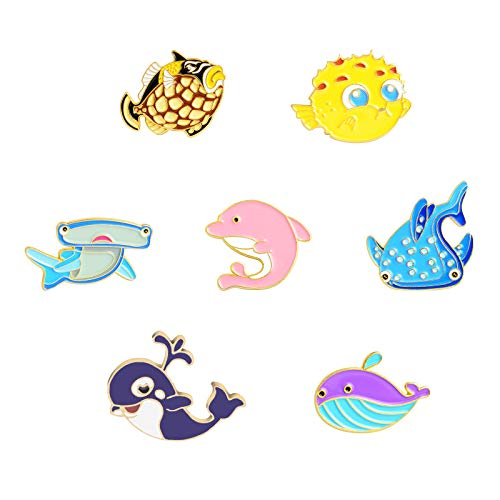 (Sea World Enamel Pin Cute Sea Ocean Fish Clownfish Dolphin Blue Whale Lapel Pin for Jacket Backpack Bag Valentines Day Gifts Galentines Day Gift)