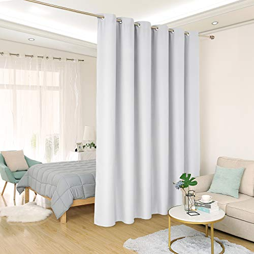 Deconovo Privacy Room Divider Curtain Thermal Insulated Blackout Curtains Screen Partition Room Darkening Panel for Shared Bedroom, 10ft Wide x 8ft Tall 1 Panel Greyish White