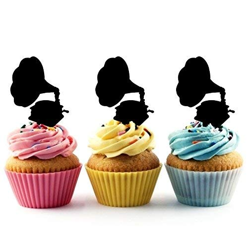 - Old Fashioned Gramophone Silhouette Acrylic Cupcake Toppers 12 pcs