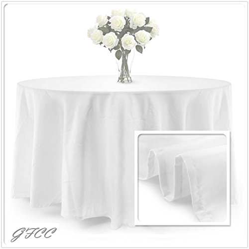 GFCC 96 Round White Polyester Tablecloth ()