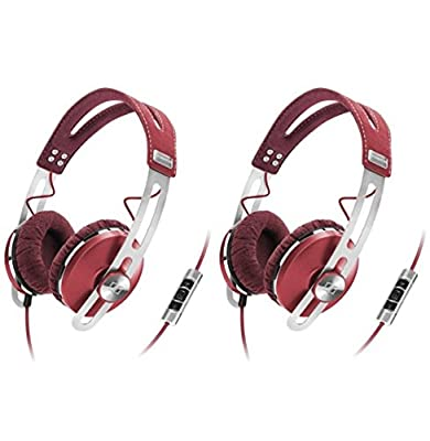 (2) Sennheiser Momentum Closed On-Ear iPod iPhone DJ Headphones w/ Case   Red
