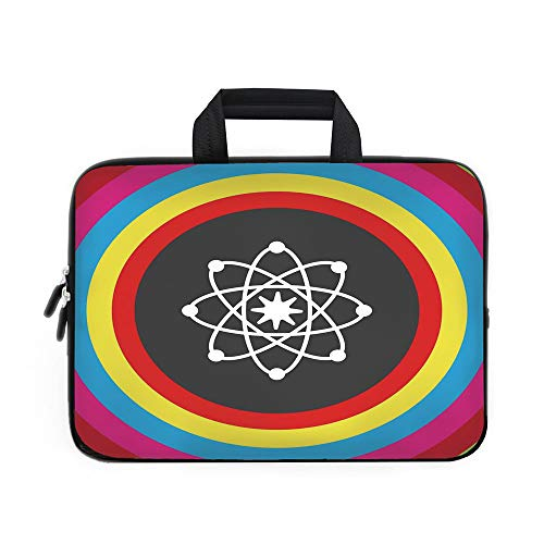 - Science Decor Laptop Carrying Bag Sleeve,Neoprene Sleeve Case/Atom Model with Colorful Circles Molecule Chemistry Biology Physics Lab Orbit/for Apple Macbook Air Samsung Google Acer HP DELL Lenovo Asu