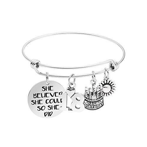 - Yiyang 18th Birthday Gifts for Girls Expandable Bracelet for Teen Girls Jewelry for Daughter Birthday