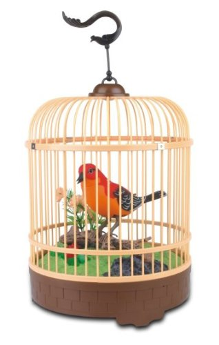 Liberty Imports Singing Amp Chirping Bird In Cage