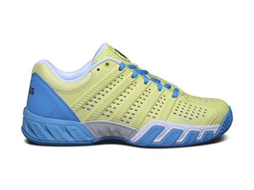 K-Swiss Juniors` Bigshot Light 2.5 Tennis Shoes Sunny Lime and Vivid Blue-(88875