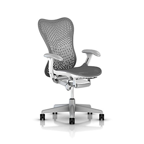 Herman Miller Mirra 2 Task Chair: Tilt Limiter - FlexFront Adj Seat Depth - Adj Lumbar Support - TriFlex Back - Adj Arms - Fog Base/Studio White Frame