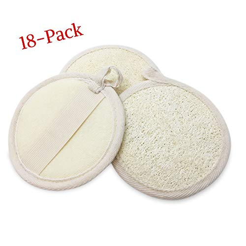 Loofah Pads, Round, Large-18 pack 100% All-Natural Luffa Sponges|Scrubbers with Elastic Handle and Terry Cloth Back to Buff and Exfoliate Face and Body in Bath Spa or Shower by Bare Essentials Living