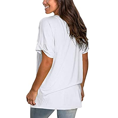NSQTBA Womens Basic V Neck T Shirts Rolled Short Sleeve Summer Casual Tops with Pocket S-2XL at Women's Clothing store