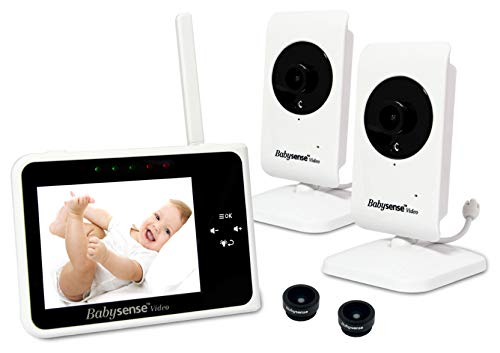 Babysense Video Baby Monitor 3.5 Inch Screen with 2 Cameras - Interchangeable Wide Angle Lens, Night Vision, Talk Back, Room Temperature, Lullabies, Wide Range and Long Battery Life