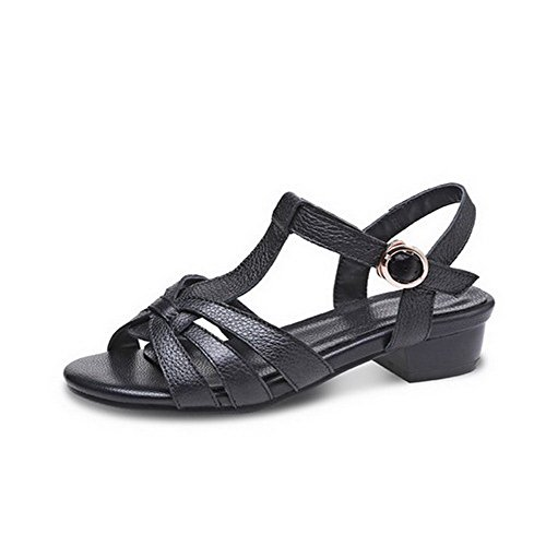 AllhqFashion Womens Cow Leather Solid Buckle Open Toe Low Heels Sandals Black