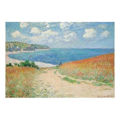 Handsome Picture, Path Through The Corn at Pourville by Claude Monet French Impressionism Plein Air Landscape Peel and Stick Large Wall Mural Removable Wallpaper, Quality Creation