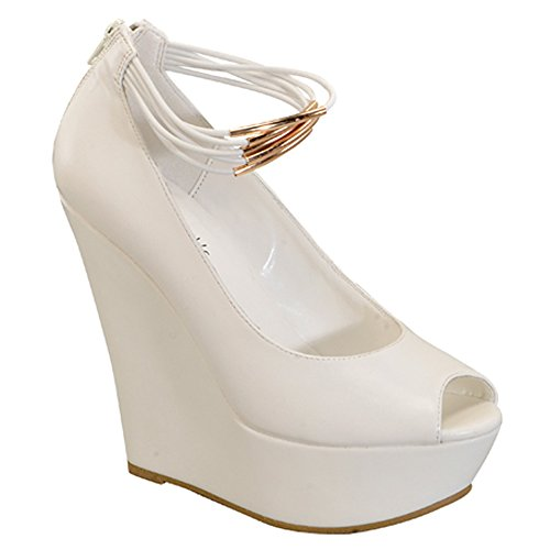 I HEART COLLECTION JACKY-11 Women's Ankle Strap Golden Detailed Straps Wedges, Color:WHITE, Size:10