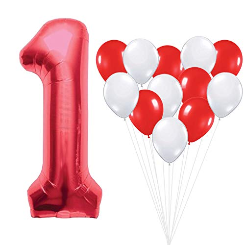 Number 1 Red Mylar Balloon – Large, Pack of 13 |6 Red and 6 White Latex Balloons | 1st Birthday Party Decorations Supplies Kit | First Bday Party Supplies | -