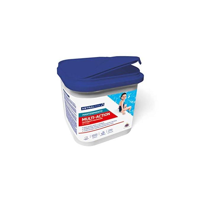 41gJEIQXaDL Multi-action tableta 250 AstralPool  Tableta multiacción de 250 g de disolución lenta para una tratamiento completo de mantenimiento del agua de la piscina en perfecto estado para el baño.  Triple acción:  Acción desinfectante: elimina bacterias, virus y microorganismos  Acción algicida: evita el desarrollo de algas  Acción floculante: mantiene el agua transparente y previene la turbidez  Producto adecuado para la desinfección de piscinas construidas con material cerámico (gresite). No aplicar en piscinas de liner, poliéster o pintadas, puesto que podría producir decoloraciones en el revestimiento.  Dosificación simple y efectiva colocando las tabletas necesarias en el cesto de los skimmers.