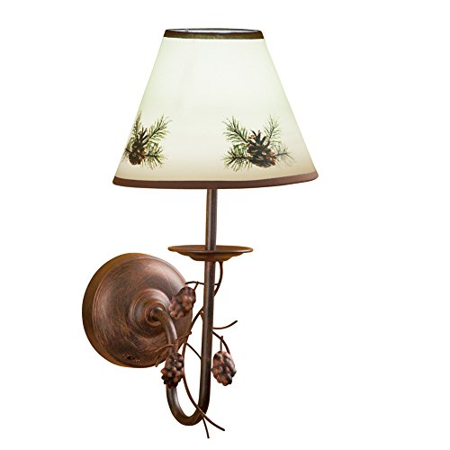 Northwoods Pinecone (Rustic Northwoods Pinecone Wall Lamp, Brown)