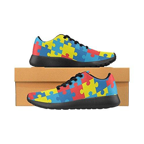 Interestprint Femmes Jogging Running Sneaker Léger Aller Confort De Marche Facile Sport Athlétique Chaussures Puzzle Avec Split Couleurs Complémentaires