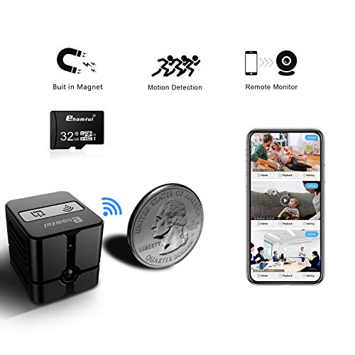 Mini Spy Hidden Camera WiFi,Ehomful Wireless Indoor Home Portable Small HD 1080P Security Nanny Cam with Motion Detection and Night Vision ()