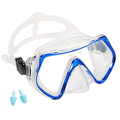 (Supertrip Snorkeling Freediving Mask Adult Panoramic Scuba Diving Goggles Blue )