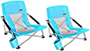 Nice C Low Beach Camping Folding Chair, Ultralight Backpacking Chair with Cup Holder & Carry Bag Compact &