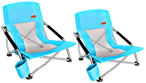 Nice C Low Beach Camping Folding Chair, Ultralight Backpacking Chair with Cup Holder  Carry Bag Compact  Heavy Duty Outdoor, Camping, BBQ, Beach, Travel, Picnic, Festival (2 Pack of Blue) in USA