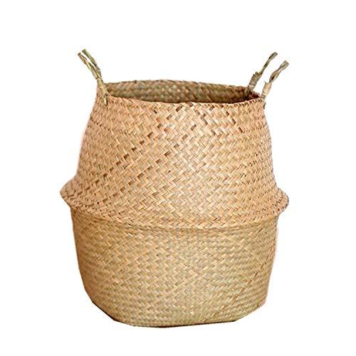 Seagrass Wickerwork Basket Rattan Hanging Flower Pot Dirty Laundry Hamper Storage Basket Sale,L (Rattan Table South Sea Rattan)
