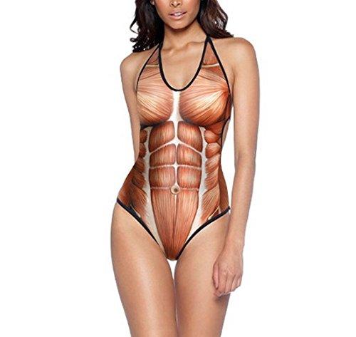 RedBeana Women Muscle Print Halter Neck One Piece Swimsuit Multi Color One Size