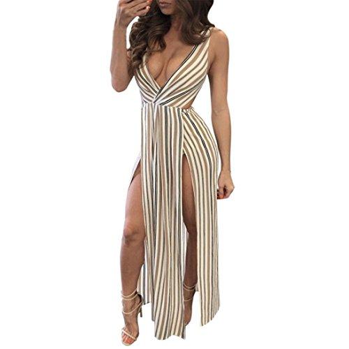 Gotd Women Split V Neck Sleeveless Summer Beach Stripe Lo...
