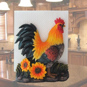 Farm Rooster on Sunflowers Kitchen Napkin Holder