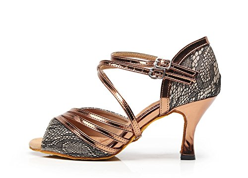 High Shoes Strappy Latin MINITOO UK Sandals Heel Ladies Wedding Bronze Fashion Synthetic 8 Dance BTBqxzXw
