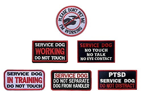 (Antrix Bundle 6 Pieces Service Dog Please Don't PET ME I'm Working Service Dog Working in Training Do Not Touch Full Embroidered Morale Patch for Dogs and Pets)